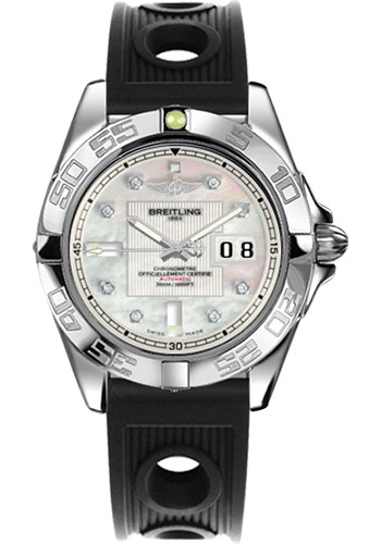 Breitling Watches - Galactic 41 Stainless Steel - Ocean Racer Strap - Deployant - Style No: A49350L2/A702-ocean-racer-black-deployant