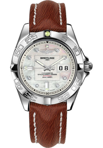 Breitling Watches - Galactic 41 Stainless Steel - Sahara Strap - Tang - Style No: A49350L2/A702-sahara-brown-tang