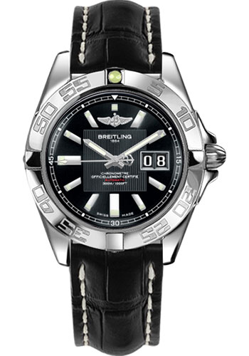 Breitling Watches - Galactic 41 Stainless Steel - Croco Strap - Tang - Style No: A49350L2/BA07-croco-black-tang