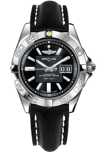 Breitling Watches - Galactic 41 Stainless Steel - Leather Strap - Tang - Style No: A49350L2/BA07-leather-black-tang