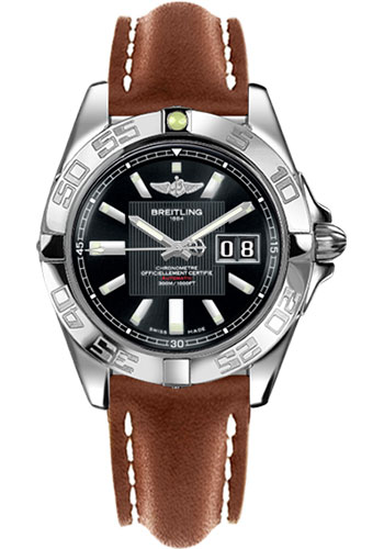Breitling Watches - Galactic 41 Stainless Steel - Leather Strap - Tang - Style No: A49350L2/BA07-leather-gold-tang
