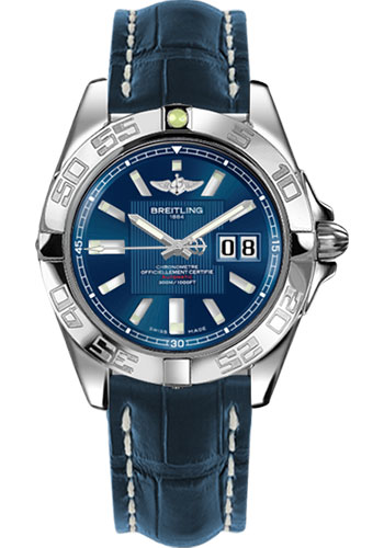 Breitling Watches - Galactic 41 Stainless Steel - Croco Strap - Tang - Style No: A49350L2/C806-croco-blue-tang