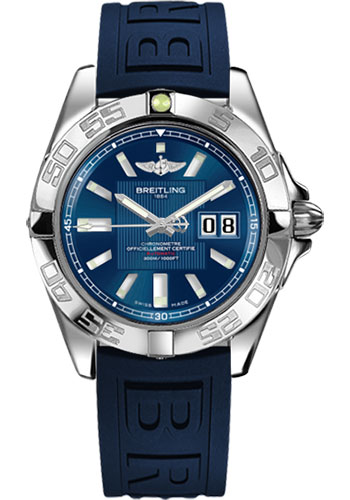 Breitling Watches - Galactic 41 Stainless Steel - Diver Pro III Strap - Deployant - Style No: A49350L2/C806-diver-pro-iii-blue-deployant