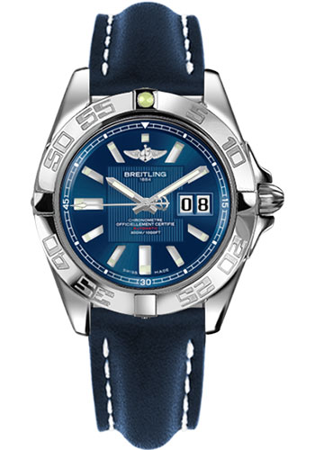 Breitling Watches - Galactic 41 Stainless Steel - Leather Strap - Tang - Style No: A49350L2/C806-leather-blue-tang