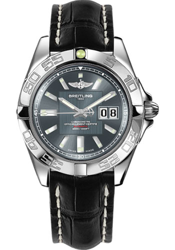Breitling Watches - Galactic 41 Stainless Steel - Croco Strap - Deployant - Style No: A49350L2/F549-croco-black-deployant