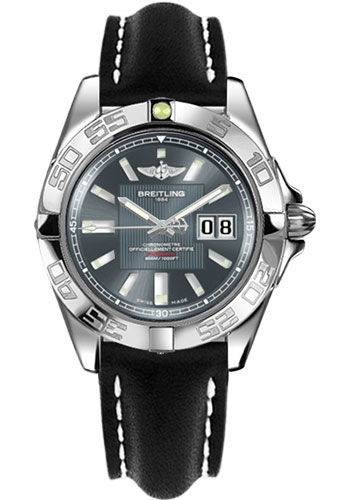 Breitling Watches - Galactic 41 Stainless Steel - Leather Strap - Tang - Style No: A49350L2/F549-leather-black-tang