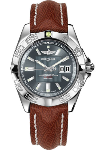 Breitling Watches - Galactic 41 Stainless Steel - Sahara Strap - Tang - Style No: A49350L2/F549-sahara-brown-tang