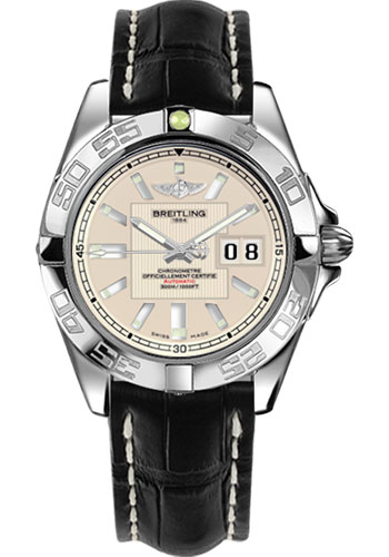 Breitling Watches - Galactic 41 Stainless Steel - Croco Strap - Deployant - Style No: A49350L2/G699-croco-black-deployant