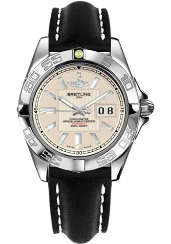 Breitling Watches - Galactic 41 Stainless Steel - Leather Strap - Tang - Style No: A49350L2/G699-leather-black-tang