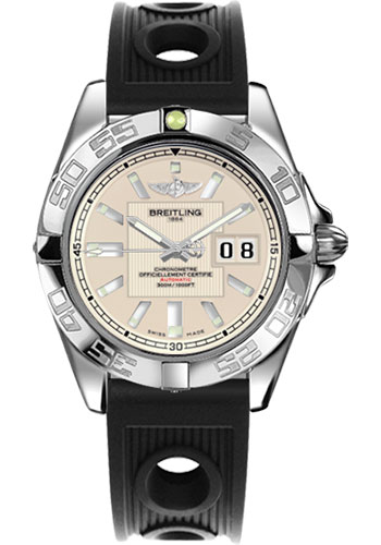 Breitling Watches - Galactic 41 Stainless Steel - Ocean Racer Strap - Deployant - Style No: A49350L2/G699-ocean-racer-black-deployant