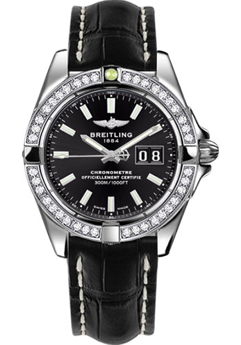 Breitling Watches - Galactic 41 Stainless Steel - Dia Bezel - Croco Strap - Deployant - Style No: A49350LA/BE58-croco-black-deployant