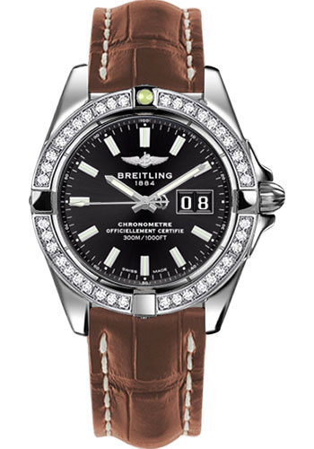 Breitling Watches - Galactic 41 Stainless Steel - Dia Bezel - Croco Strap - Deployant - Style No: A49350LA/BE58-croco-gold-deployant