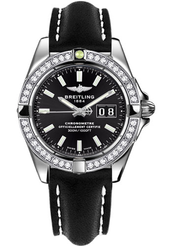 Breitling Watches - Galactic 41 Stainless Steel - Dia Bezel - Leather Strap - Tang - Style No: A49350LA/BE58-leather-black-tang