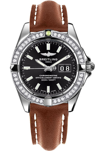 Breitling Watches - Galactic 41 Stainless Steel - Dia Bezel - Leather Strap - Tang - Style No: A49350LA/BE58-leather-gold-tang