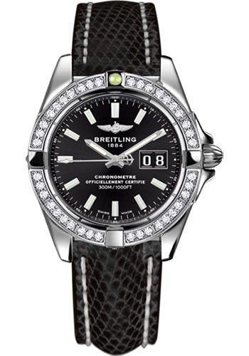 Breitling Watches - Galactic 41 Stainless Steel - Dia Bezel - Lizard Strap - Deployant - Style No: A49350LA/BE58-lizard-black-deployant