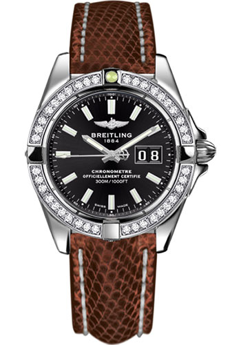 Breitling Watches - Galactic 41 Stainless Steel - Dia Bezel - Lizard Strap - Deployant - Style No: A49350LA/BE58-lizard-brown-deployant