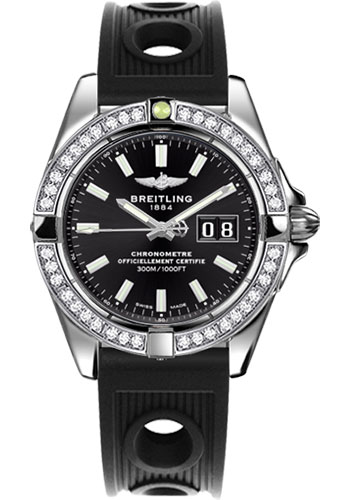 Breitling Watches - Galactic 41 Stainless Steel - Dia Bezel - Ocean Racer Strap - Style No: A49350LA/BE58-ocean-racer-black-deployant