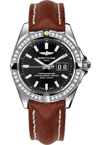 Breitling Watches - Galactic 41 Stainless Steel - Dia Bezel - Sahara Strap - Tang - Style No: A49350LA/BE58-sahara-brown-tang