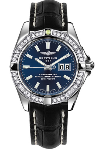 Breitling Watches - Galactic 41 Stainless Steel - Dia Bezel - Croco Strap - Deployant - Style No: A49350LA/C929-croco-black-deployant