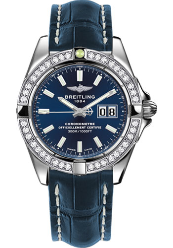 Breitling Watches - Galactic 41 Stainless Steel - Dia Bezel - Croco Strap - Deployant - Style No: A49350LA/C929-croco-blue-deployant