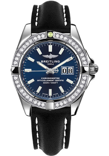 Breitling Watches - Galactic 41 Stainless Steel - Dia Bezel - Leather Strap - Tang - Style No: A49350LA/C929-leather-black-tang