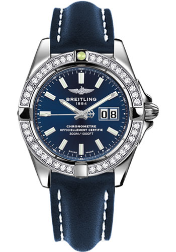 Breitling Watches - Galactic 41 Stainless Steel - Dia Bezel - Leather Strap - Tang - Style No: A49350LA/C929-leather-blue-tang