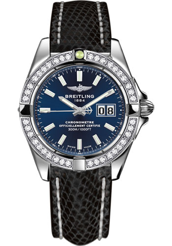 Breitling Watches - Galactic 41 Stainless Steel - Dia Bezel - Lizard Strap - Deployant - Style No: A49350LA/C929-lizard-black-deployant