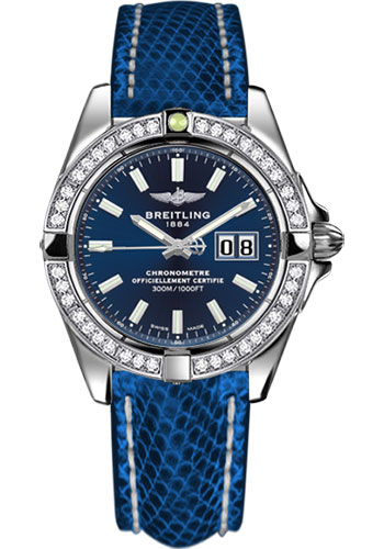 Breitling Watches - Galactic 41 Stainless Steel - Dia Bezel - Lizard Strap - Tang - Style No: A49350LA/C929-lizard-blue-marine-tang