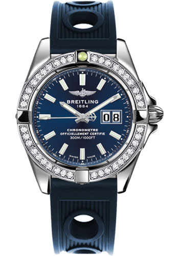 Breitling Watches - Galactic 41 Stainless Steel - Dia Bezel - Ocean Racer Strap - Style No: A49350LA/C929-ocean-racer-blue-deployant