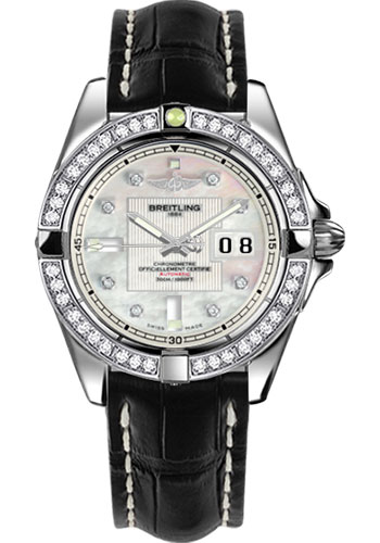 Breitling Watches - Galactic 41 Stainless Steel - Dia Bezel - Croco Strap - Deployant - Style No: A49350LA/A702-croco-black-deployant