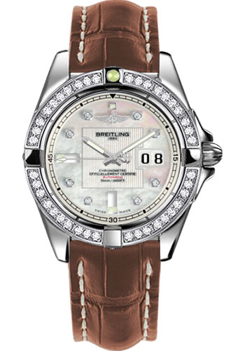 Breitling Watches - Galactic 41 Stainless Steel - Dia Bezel - Croco Strap - Deployant - Style No: A49350LA/A702-croco-gold-deployant