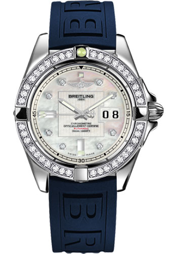 Breitling Watches - Galactic 41 Stainless Steel - Dia Bezel - Diver Pro III Strap - Deployant - Style No: A49350LA/A702-diver-pro-iii-blue-deployant