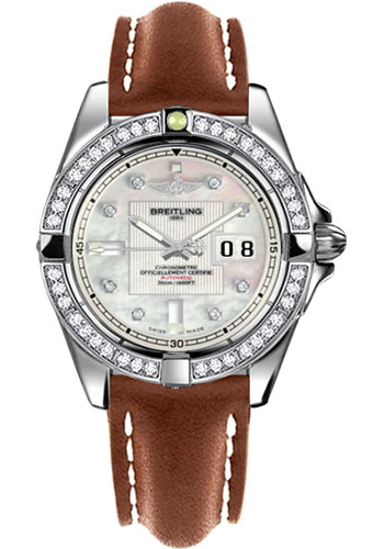 Breitling Watches - Galactic 41 Stainless Steel - Dia Bezel - Leather Strap - Tang - Style No: A49350LA/A702-leather-gold-tang