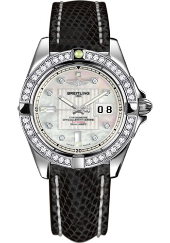 Breitling Watches - Galactic 41 Stainless Steel - Dia Bezel - Lizard Strap - Deployant - Style No: A49350LA/A702-lizard-black-deployant