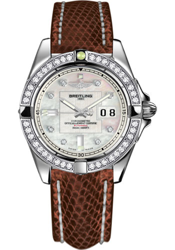Breitling Watches - Galactic 41 Stainless Steel - Dia Bezel - Lizard Strap - Deployant - Style No: A49350LA/A702-lizard-brown-deployant