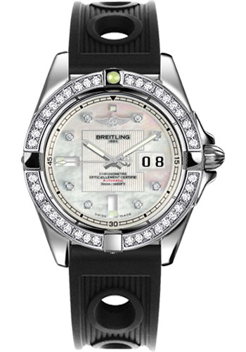 Breitling Watches - Galactic 41 Stainless Steel - Dia Bezel - Ocean Racer Strap - Style No: A49350LA/A702-ocean-racer-black-deployant