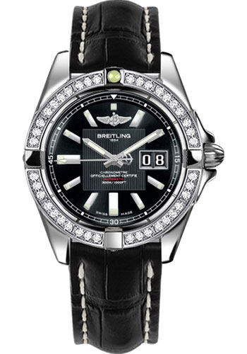 Breitling Watches - Galactic 41 Stainless Steel - Dia Bezel - Croco Strap - Tang - Style No: A49350LA/BA07-croco-black-tang