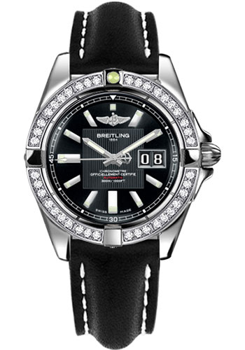 Breitling Watches - Galactic 41 Stainless Steel - Dia Bezel - Leather Strap - Tang - Style No: A49350LA/BA07-leather-black-tang
