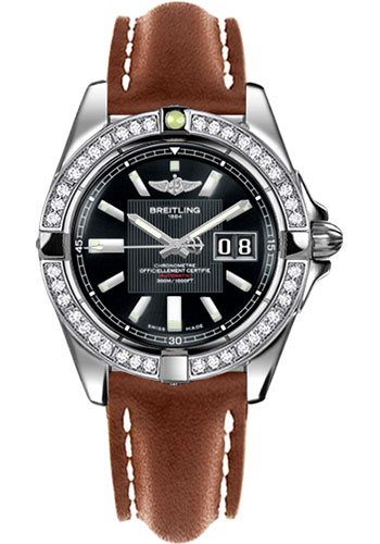 Breitling Watches - Galactic 41 Stainless Steel - Dia Bezel - Leather Strap - Tang - Style No: A49350LA/BA07-leather-gold-tang