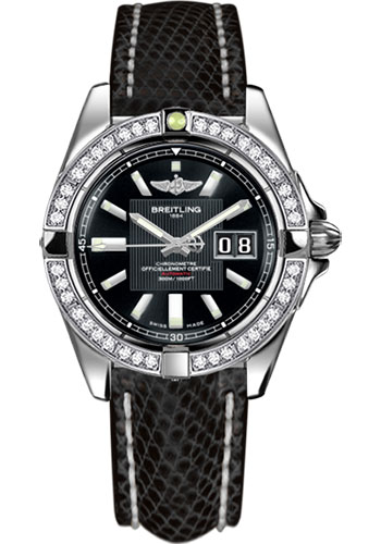 Breitling Watches - Galactic 41 Stainless Steel - Dia Bezel - Lizard Strap - Deployant - Style No: A49350LA/BA07-lizard-black-deployant