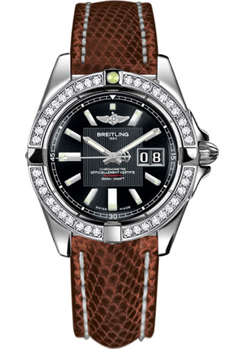 Breitling Watches - Galactic 41 Stainless Steel - Dia Bezel - Lizard Strap - Deployant - Style No: A49350LA/BA07-lizard-brown-deployant