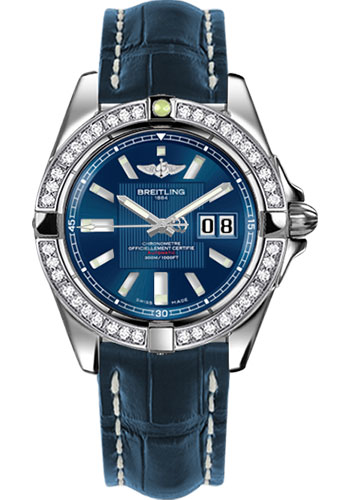 Breitling Watches - Galactic 41 Stainless Steel - Dia Bezel - Croco Strap - Deployant - Style No: A49350LA/C806-croco-blue-deployant