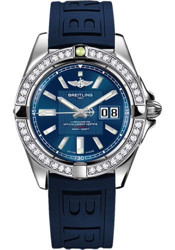 Breitling Watches - Galactic 41 Stainless Steel - Dia Bezel - Diver Pro III Strap - Deployant - Style No: A49350LA/C806-diver-pro-iii-blue-deployant
