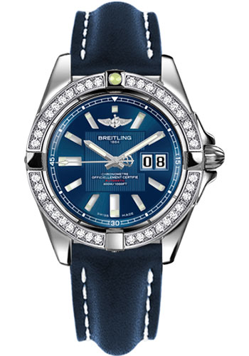 Breitling Watches - Galactic 41 Stainless Steel - Dia Bezel - Leather Strap - Tang - Style No: A49350LA/C806-leather-blue-tang