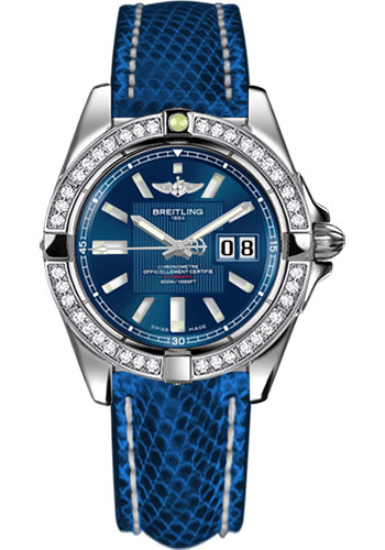 Breitling Watches - Galactic 41 Stainless Steel - Dia Bezel - Lizard Strap - Tang - Style No: A49350LA/C806-lizard-blue-marine-tang