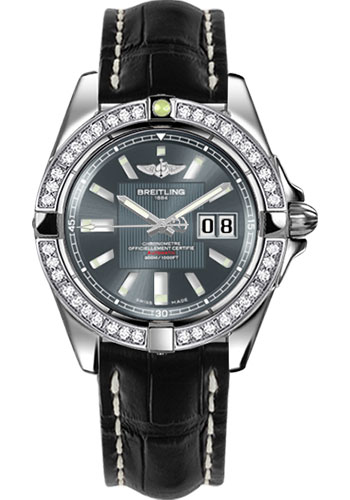 Breitling Watches - Galactic 41 Stainless Steel - Dia Bezel - Croco Strap - Deployant - Style No: A49350LA/F549-croco-black-deployant