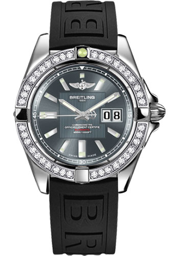 Breitling Watches - Galactic 41 Stainless Steel - Dia Bezel - Diver Pro III Strap - Deployant - Style No: A49350LA/F549-diver-pro-iii-black-deployant