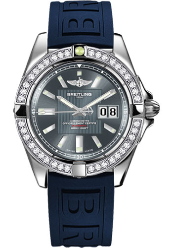 Breitling Watches - Galactic 41 Stainless Steel - Dia Bezel - Diver Pro III Strap - Deployant - Style No: A49350LA/F549-diver-pro-iii-blue-deployant