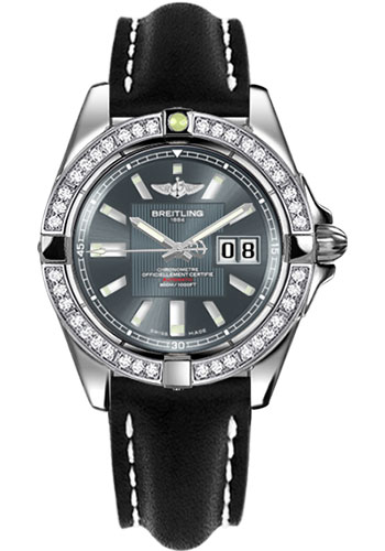 Breitling Watches - Galactic 41 Stainless Steel - Dia Bezel - Leather Strap - Tang - Style No: A49350LA/F549-leather-black-tang
