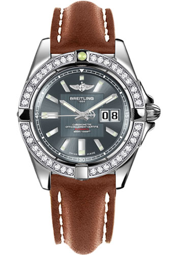 Breitling Watches - Galactic 41 Stainless Steel - Dia Bezel - Leather Strap - Tang - Style No: A49350LA/F549-leather-gold-tang